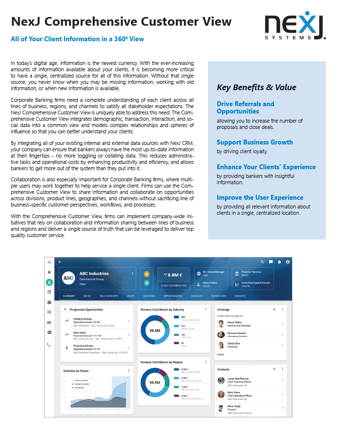 NexJ Comprehensive Customer View for Corporate Banking